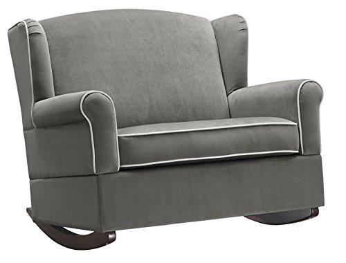 Baby Relax Lainey Wingback, Super-Wide Nursery Rocker, Graphite Gray - Color: (Half Recliner)