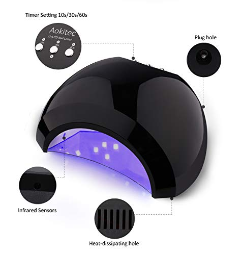Amazon.com: Aokitec UV LED Nail Lamp 48W Gel Curing Lamp with Sensor, Memory Timer Home Salon Nail Light for Fingernail Toenail Gel Polish Portable Nail ...
