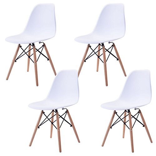 Eight24hours Set of 4 Mid Century Modern Eames Style DSW Dining Side Chair Wood Leg in White - I11