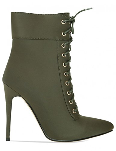 in Lamoda Khaki Heeled Boots Womens up Lycra Lace Ankle OwUY7qArw