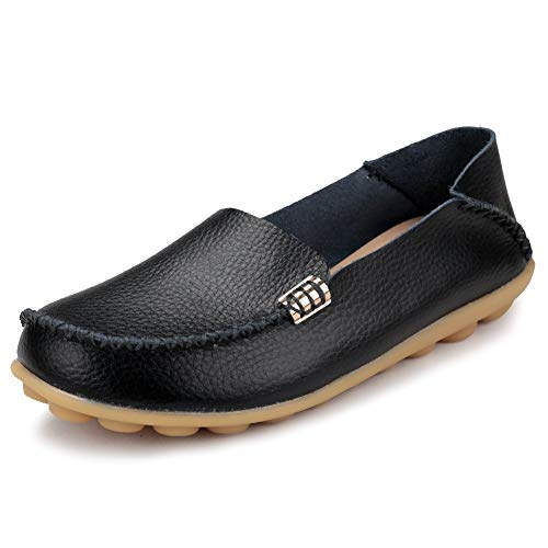 FUDYNMALC Women's Leather Casual Round Toe Moccasins Comfort Driving Loafers for Women Shoes Black