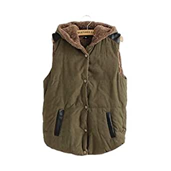 Howely Women Warm with Pockets Loose Sleeveless Hoodie Cotton Padded Coat Army Green M