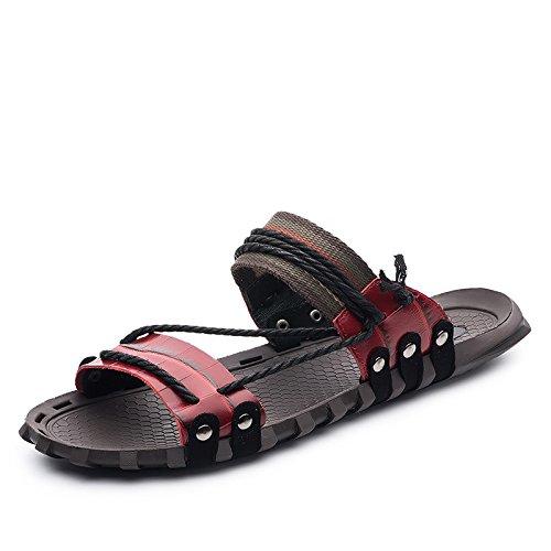 Xing Lin Flip Flop De La Playa Los Hombres Sandalias _ Verano Palabra Pantuflas Sandalias De Gran Tamaño Nuevo Sandalias De Hombres XGZ7552 red