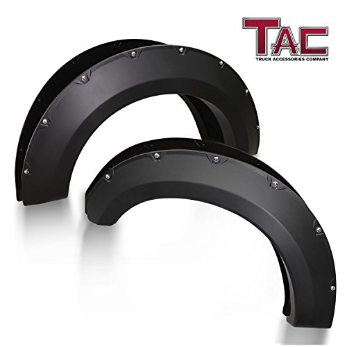 TAC Fender Flares Cover for 2017-2018 Ford F250 / F350 Super Duty Truck Off-Road 4pcs Matte Black Smooth Front & Rear Pocket Rivet Style Pickup All Beds (Single Rear Wheel only)