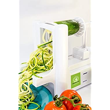 Kitchen Basics Countertop Spiralizer 3 Blade Spiral Vegetable Slicer for Low Carb Healthy Eating. Includes Bonus EBook with 30 Recipes and Free 3 Blade Peeler