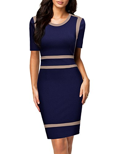 Miusol Women's Scoop Neck Optical Illusion Business Bodycon Dress (Medium, Navy Blue)