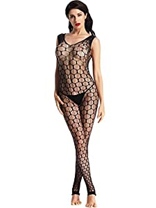 Amoretu Womens Fence Net Bodystocking Lingerie Open Crotch Body Stocking