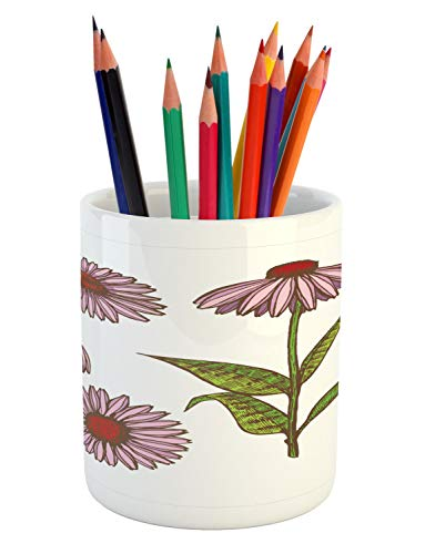 Ambesonne Apothecary Pencil Pen Holder, Coneflower Homeopathic Extract Ayurveda Herbal Treatment Essence Vintage Artwork, Printed Ceramic Pencil Pen Holder for Desk Office Accessory, Multicolor