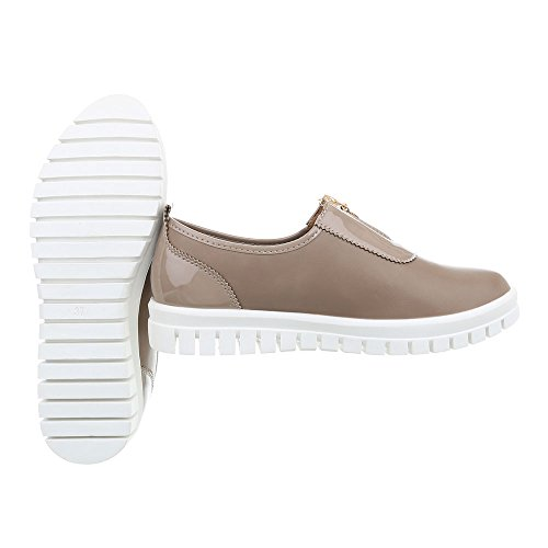 Light Flat Trainers Sneakers Women's Low Design Ital J5e Brown nSq7Ax6gW