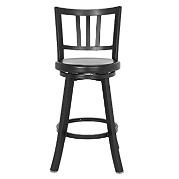 Renovoo Aluminum Swivel Counter Stool, Commercial Quality, Fully Assembled, Matte Black Powder Coated Finish, 24 Inch Seat Height, Indoor and Outdoor Use, 1 Pack