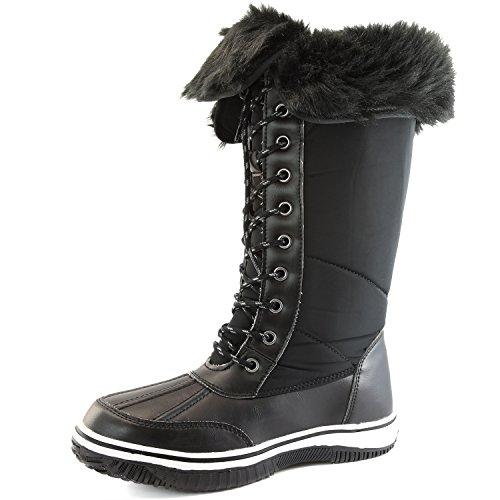Women's DailyShoes Knee High 2-Tone Lace Up Décor Zipper Cowboy Warm Fur Water Resistant Eskimo Snow Boots, 8.5