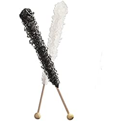 12 Black Rock Candy, 12 White Rock Candy - 24 Total Sticks - How to Build a Candy Buffet Table Guide Included Free! Great for Weddings, Black is Black Cherry Flavored, White Is Natural Sugar Flavored.