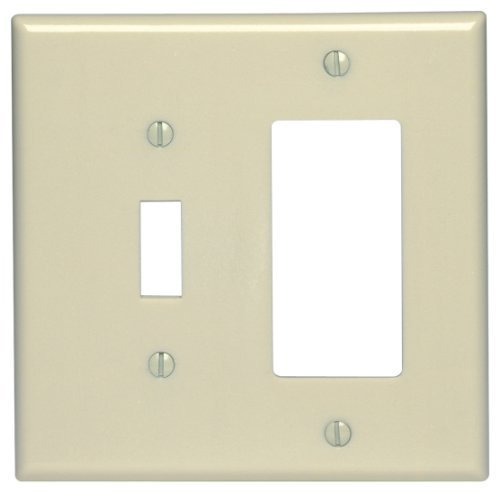 Leviton 80605-I 2-Gang 1-Toggle 1-Decora/GFCI Device Combination Wallplate, Midway Size, Thermoset, Device Mount, Ivory (Toggle Ivory Plate)
