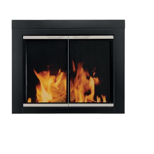 Pleasant Hearth AP-1130 Alsip Fireplace Glass Door, Black, Small