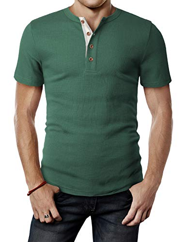 H2H Mens Casual Slim Fit Short Sleeve Henley T Shirts of Waffle Cotton Green US M/Asia L (CMTTS240)