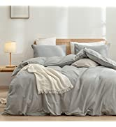 BESTOUCH Duvet Cover Set 100% Washed Cotton Linen Feel Super Soft Comfortable Chic Lightweight 3 ...