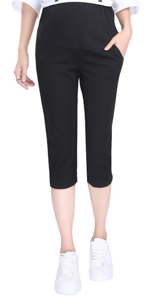 Foucome Women's Wear to Work Maternity Office Capri Trouser Pants Over The Bump