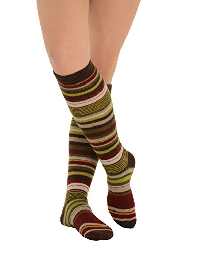 Womens Stripe Knee Socks Cashmere Blend 7 Color Options Color:: Espresso Espresso Wool Cashmere