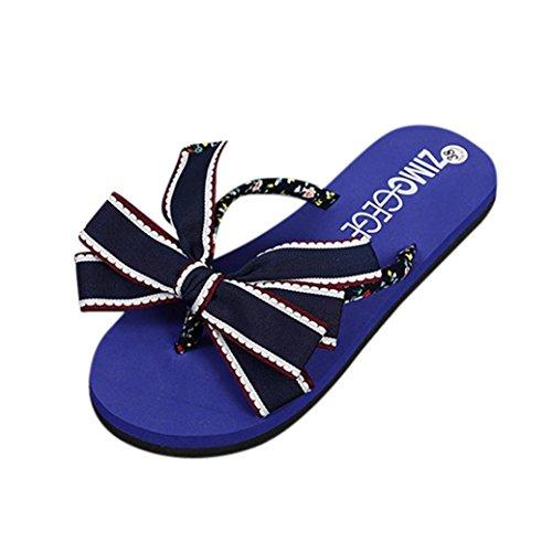 IGEMY Mädchen Sommerferien Flip Flops flache Schuhe Strand Sandalen Blau