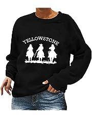 Fall Sweatshirt Women's Long Sleeve Pullover Loose Top Blouse Vintage Yellowstone Print Crewneck T Shirt