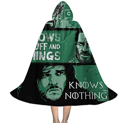 QINWEILU Knowledge Rules Two Jon Snow Heisenberg Rick Grimes Unisex Kids Hooded Cloak Cape Halloween Christmas Party Decoration Role Cosplay Costumes Outwear