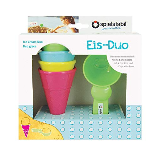 Spielstabil Ice Cream Duo Play Set with 4 Plastic Cones and 1 Scoop Mold for Use in The Sand or with Real Food (Made in Germany)