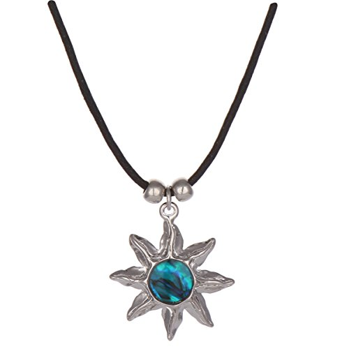 - Barch Blue Abalone Paua Shell Pendant Necklace Silver Jewelry Mood Jewelry Gift for Girls/Boys (Sun)