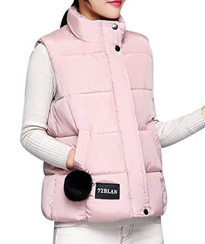 Yasong Women Padded Puffer Quilted Vest Gilet Bodywarmer Sleeveless Jacket Pink