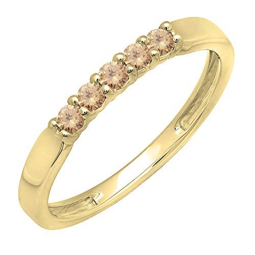 0.25 Carat (ctw) 10K Yellow Gold Round Champagne Diamond 5 Stone Wedding Ring 1/4 CT (Size ()