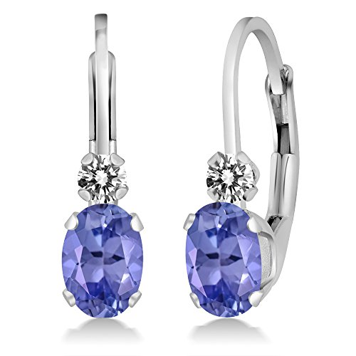 Gem Stone King 0.97 Ct Oval Blue Tanzanite White Diamond 14K White Gold Earrings