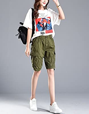 Fuwenni Women's Casual Loose Fit Relaxed Sports Active Wear Bermuda Cargo Shorts Multi Pockets
