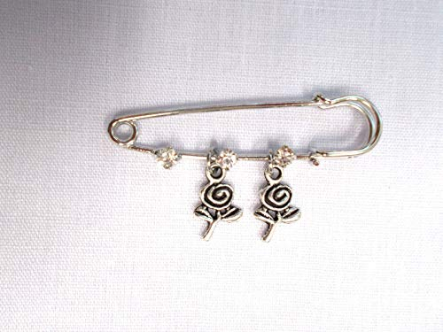 Swirl Crystal Pin (New 2 PIN Brooch w 3 Crystals 2 Swirl Paper Rose Flower Double Dangle Charms)