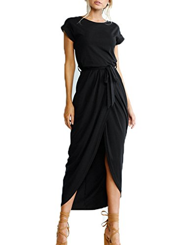 Womens Belted Cap - Xiber Women's Casual Short Sleeve Tunic Party Summer Long Maxi Dress (XL, Black)