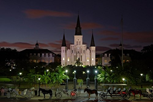 - Jackson Square Dusk Saint Louis Cathedral French Quarter New Orleans Photo Art Print Poster 36x24 inch
