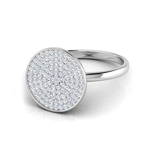 14K Or blanc, 0,4carat Diamant Taille ronde (IJ | SI) en diamant