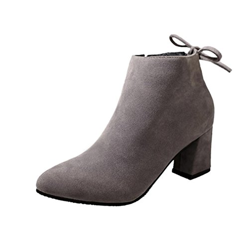 LuckyBB Women Boots, Square Heel Lace Up Ankle Martin Boots Bandage High Heels Platform Boots Gray