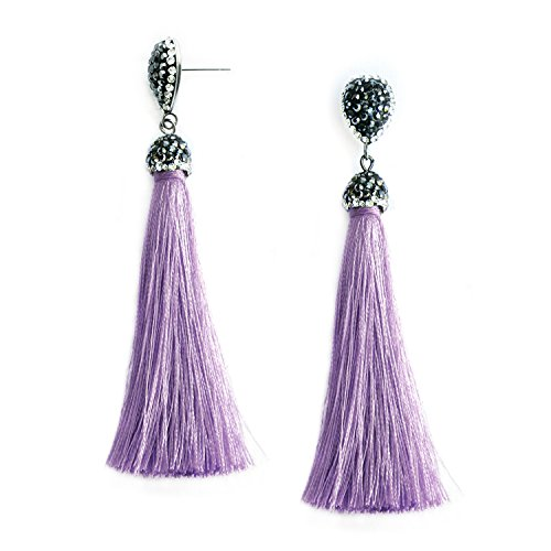 Lavender Dangle Statement Tassel Drop Earrings Long Fringe Violet Fashion Halloween Party Costume Silk Earrings - Breakfast at Tiffany's Sleep Set -