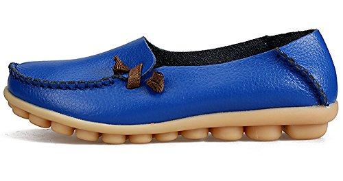 LabatoStyle Damen Casual Leder Loafers Driving Mokassins Wohnungen Schuhe Königsblau