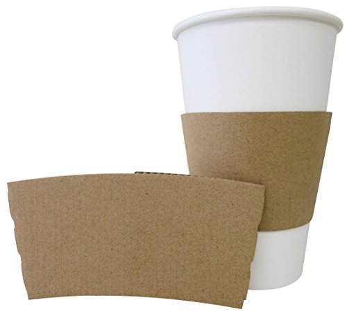 Gogo by crystalware HCSKP1020 Kraft Paper Sleeves for Hot Cups Fits Most Hot Cups, 10 oz. - 20 oz. (Pack of (Coffee Sleeves)