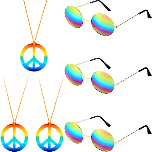 Fiada 6 Pieces Hippie Costume Accessory Set Includes Peace Sign Necklace and Hippy Sunglasses for 60s 70s Party Supplies