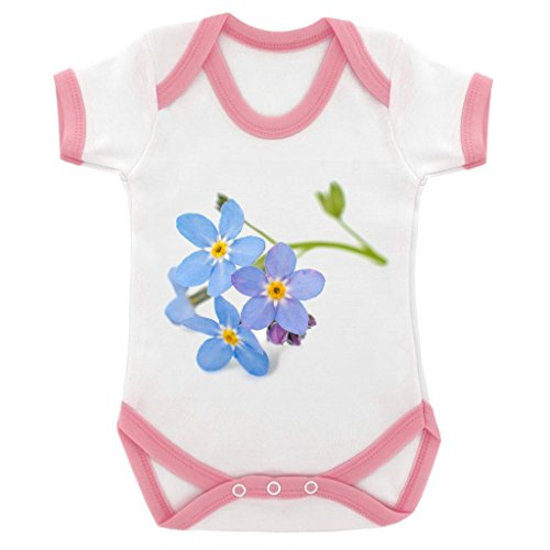 Forget Me Not Suit - Forget Me Not Image Baby Bodysuit White with Pink Trim