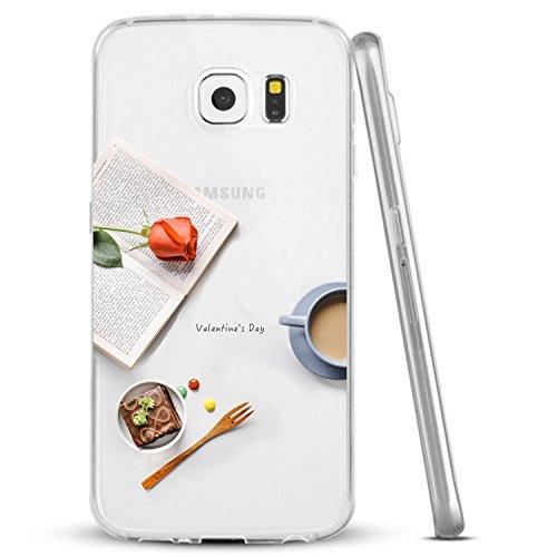Vanki® Funda Galaxy S6,Carcasa Cubierta TPU Silicona Goma Suave Case Protection y Premium Clarity Cover Ultra Fino Anti-Arañazos para Samsung Galaxy S6 -Flores y patrón de aves 1