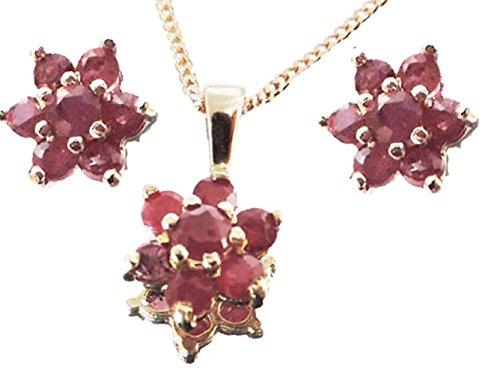 Austral Jewellery Ltd - 9Ct Or Jaune Rubis Étoile Cadeau Réel Set - Pendentif, Boucles D'Oreilles, Chaîne 9Ct - Cadeau 40E Anniversaire De Mariage