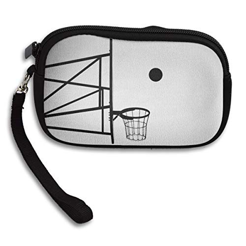 Jemys Grayscale Photo of Ball About to Shoot Small Wallet,Wallet with Zipper,100% Polyester Wallet with Pattern for Mobile Phone, Bank Card, ID Card
