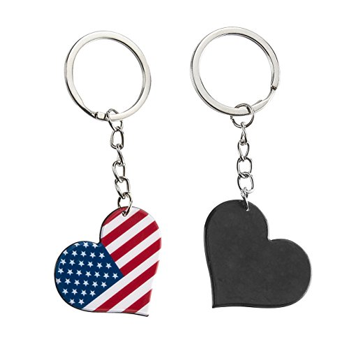 American Flag Keychain - 24 Pack Patriotic US Keyrings, Souvenir Gifts for 4th of July, Labor Day, and Veterans' Day Festivities, 1.6 x 3.5 x 0.1 Inches