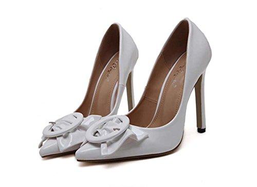 la boda de 11cm vestir UE Scarpin patente tacón de 43 dedo 34 punta de corte puro zapatos Mujeres la Bowknot zapatos Bomba Tamaño cuero alto Size White Color 39 Charol de de zapatos de ol OPwqdOFT