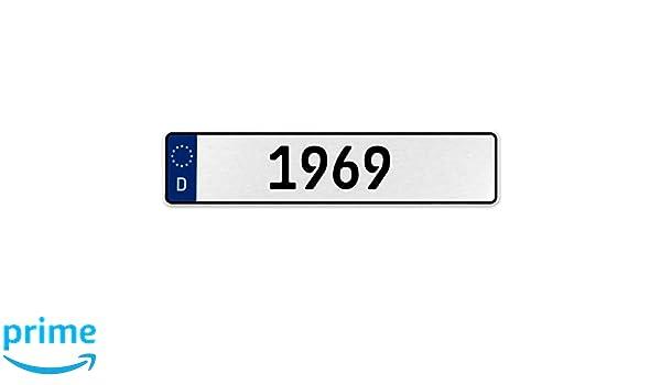 Vintage Parts 553367 1969 Year White Stamped Aluminum Deutschland License Plate