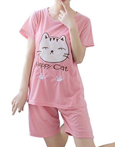 MyFav Big Girls Cotton Nightwear Casual Pajama Set Lovely Happy Cat Loungewear