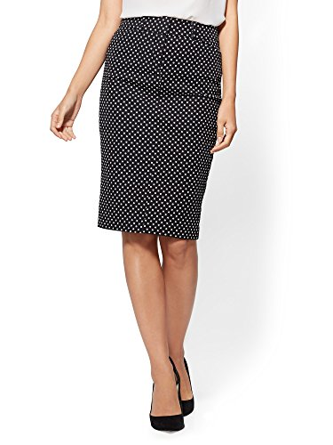 New York & CO. Women's Audrey Pencil Skirt - Black White Dot 4 Blackwhite
