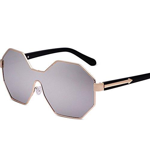 Transparente metálico Gafas Transparentes A Cara de Marco Marco Color Sol Gafas Sol de Redonda de Polígono B Gafas poligonales Gafas Sol de Extragrande Personalidad 8PRwPU